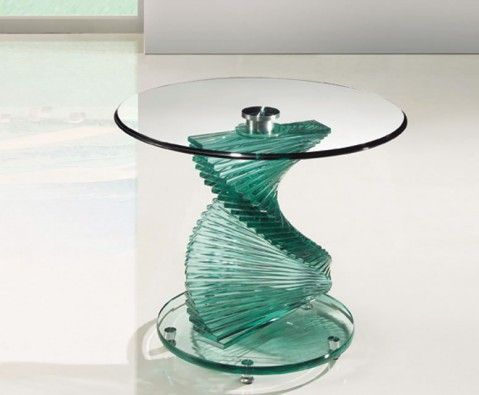 Arvika Clear Glass Lamp Table - UK delivery