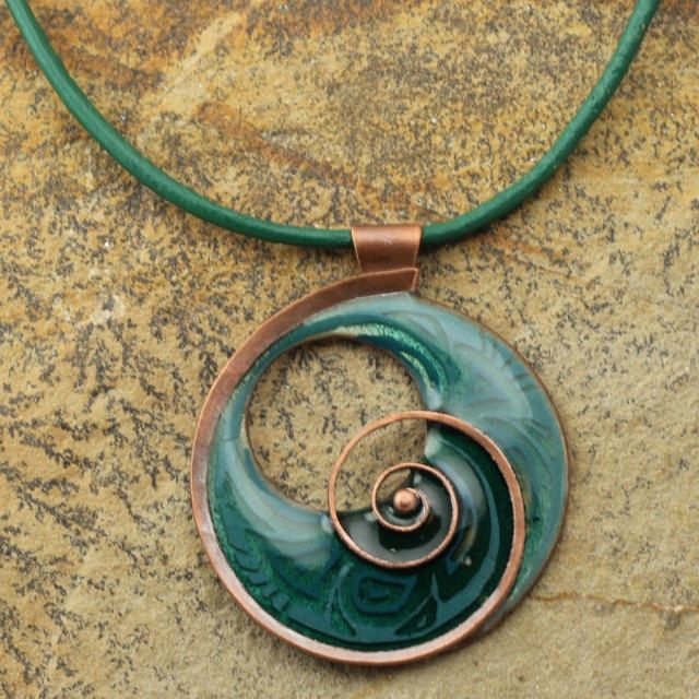 Handmade dark turquise green enamel necklace by intuitashop on Etsy