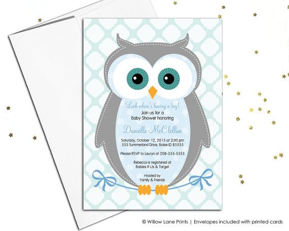 Unique baby shower invitations - owl baby shower invite - baby boy - blue, gray and aqua baby shower - DIY printable or printed - WLP00784 by WillowLanePrints