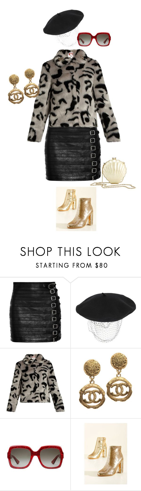 """""""III"""" by rolllingstones ❤ liked on Polyvore featuring Gucci, Silver Spoon Attire, Shrimps, WGACA, Reiss, vintage and fur"""