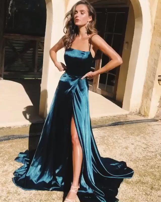 elegante Träger dunkelgrün langes Abendkleid mit Seitenschlitz, formelles Abendkleid …