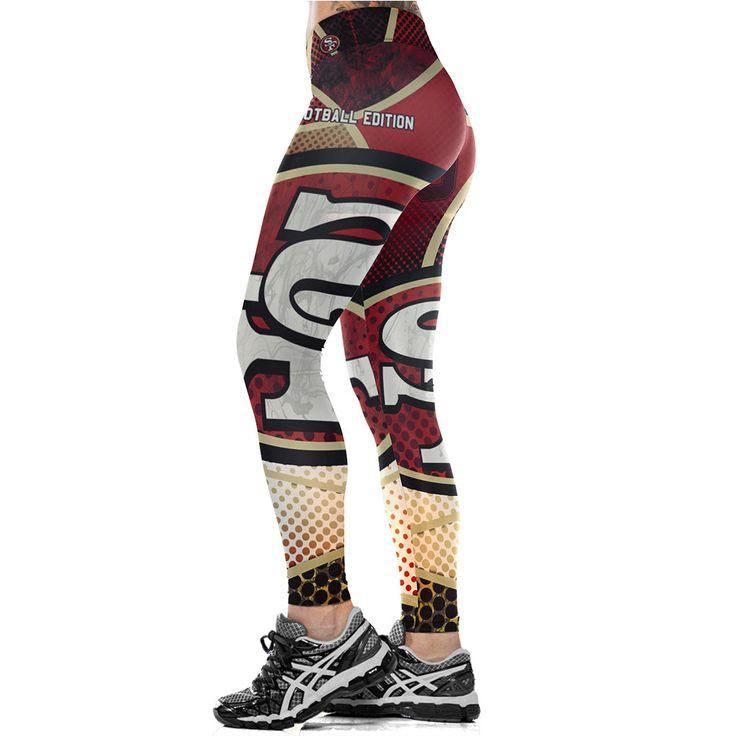 Unisex NFL Team San Francisco 49ers Logo Fitness Leggings Fiber Elastic Hiphop Party Cheerleader Rooter Workout Pants Trousers