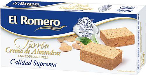 Turron de Crema de Almendra con Edulcorante EL ROMERO Calidad Suprema 200 g x 24 unidades