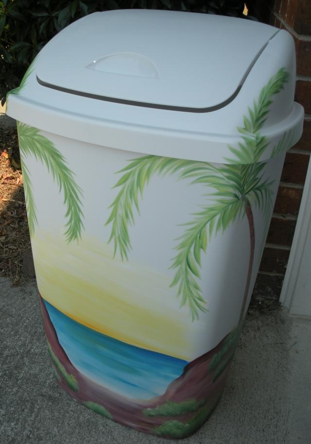Tropical Beach Scene Trash Can. I can make that!
