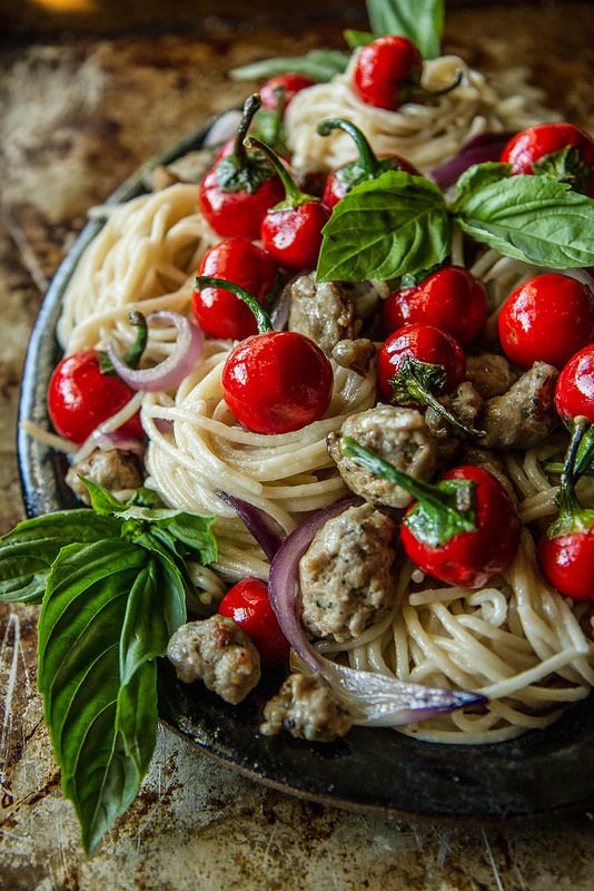 Pasta with Spicy Sausage and Sweet Peppers
