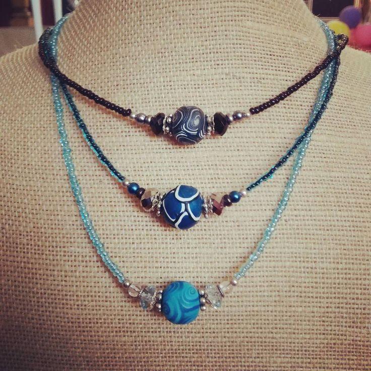 Necklaces featuring my handmade Polymer Clay Beads. #handmade #nzmade #polymerclay #jewellery