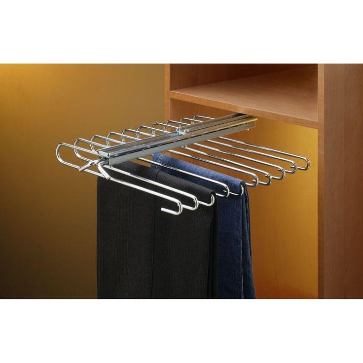 Pantalonero extraíble para fijar en el interior de un armario. Fijación bajo una balda. Capacidad para 9 o 11 pantalones según el modelo.