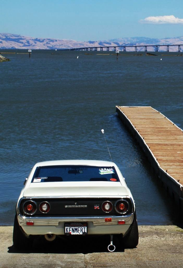 Datsun Skyline GT-R. cool car. but why is it parked on a boat ramp?