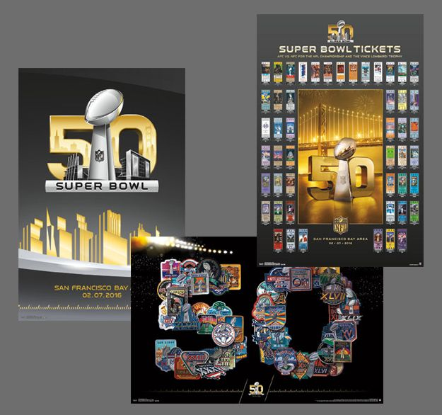 Heading into the biggest historical celebration of football ever, Sports Poster Warehouse is proud to present the official posters of Super Bowl 50. Description from sportsposterwarehouse.com. I searched for this on bing.com/images