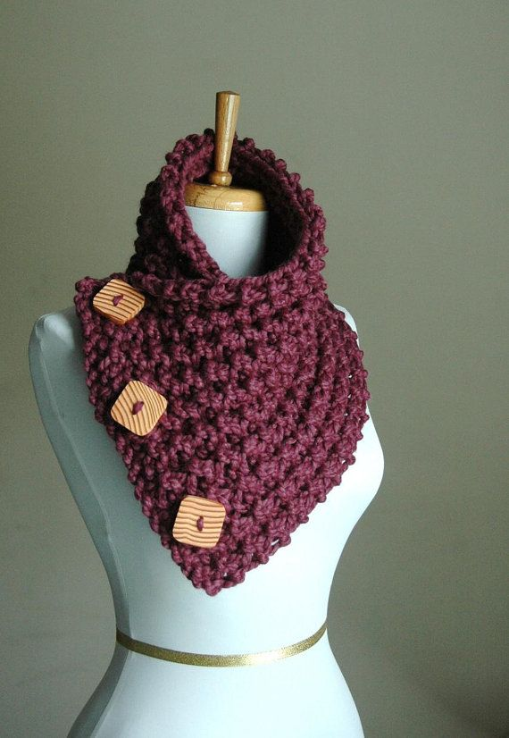Hand Knit Wood Button Scarf Cowl in Purple Fig by PhylPhil on Etsy, $41.00