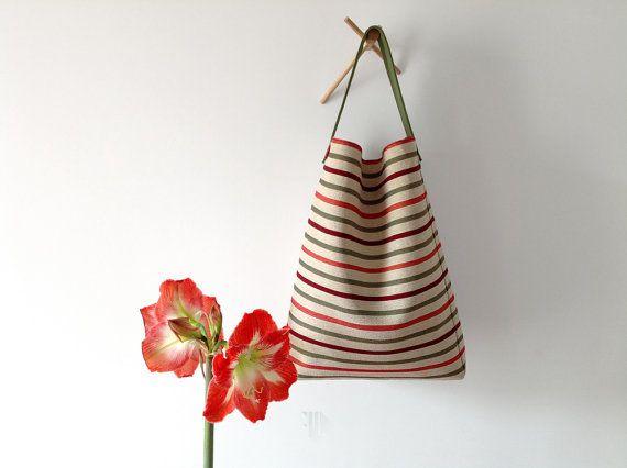 Striped hobo bag in Italian Gobelin fabric made in by FMLdesign