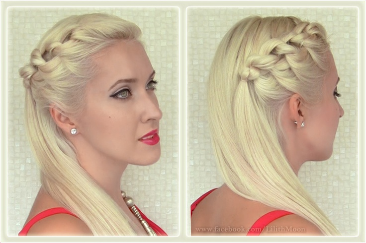 knotted braid headband hairstyle side swept half updo