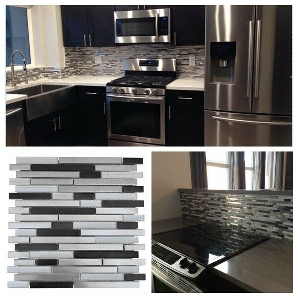Details About Silver Black Stainless Steel Metal Glass Mosaic Liner Tile For Backsplash Wall With Images Wall