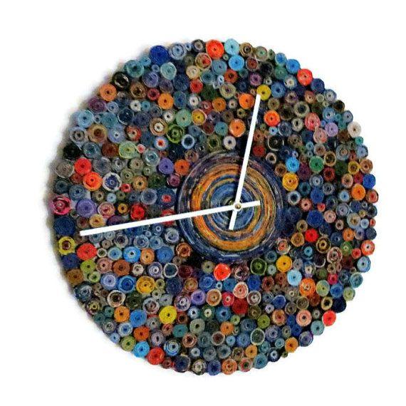 Einzigartige Wanduhr, Geburtstagsgeschenk, Eco Home Decor, Dekor und Haushaltswaren, Recycling Kunst, Decor, Home and…