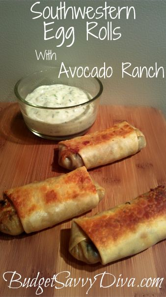 yum!Southwestern Eggs Rolls, Ranch Recipe, Health Care, Healthy Eating, Egg Rolls, Health Tips, Ranch Dips, Avocado Ranch, Health Foods