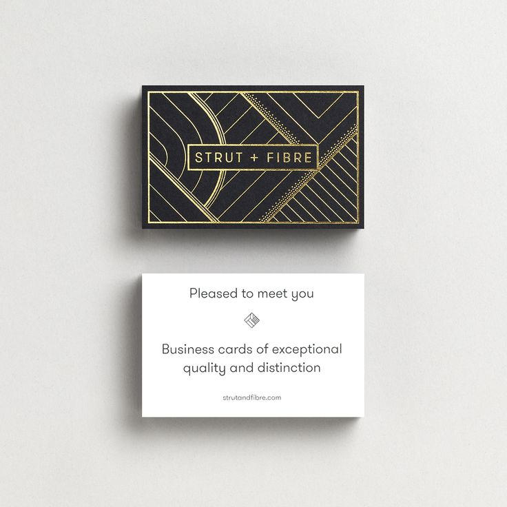 Our Strut and Fibre Business Cards are created using our Apex level card, with triplexed stock, and gold foil applied to black on the back.