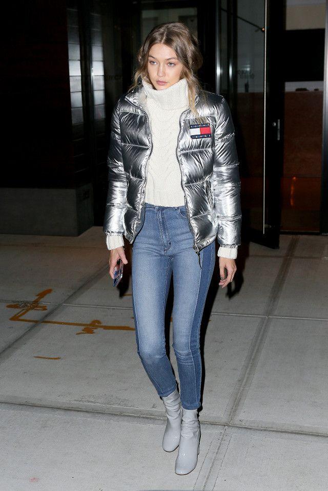 Gigi Hadid Tommy Hilfiger Silver Puffer Jacket