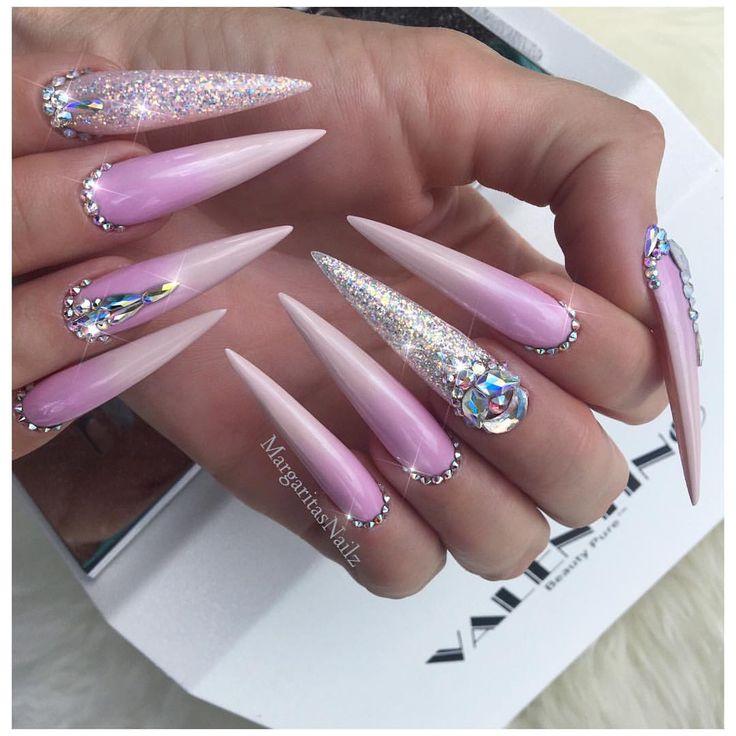 Lavender Ombré Stilettos Bling nail art design Stiletto nails