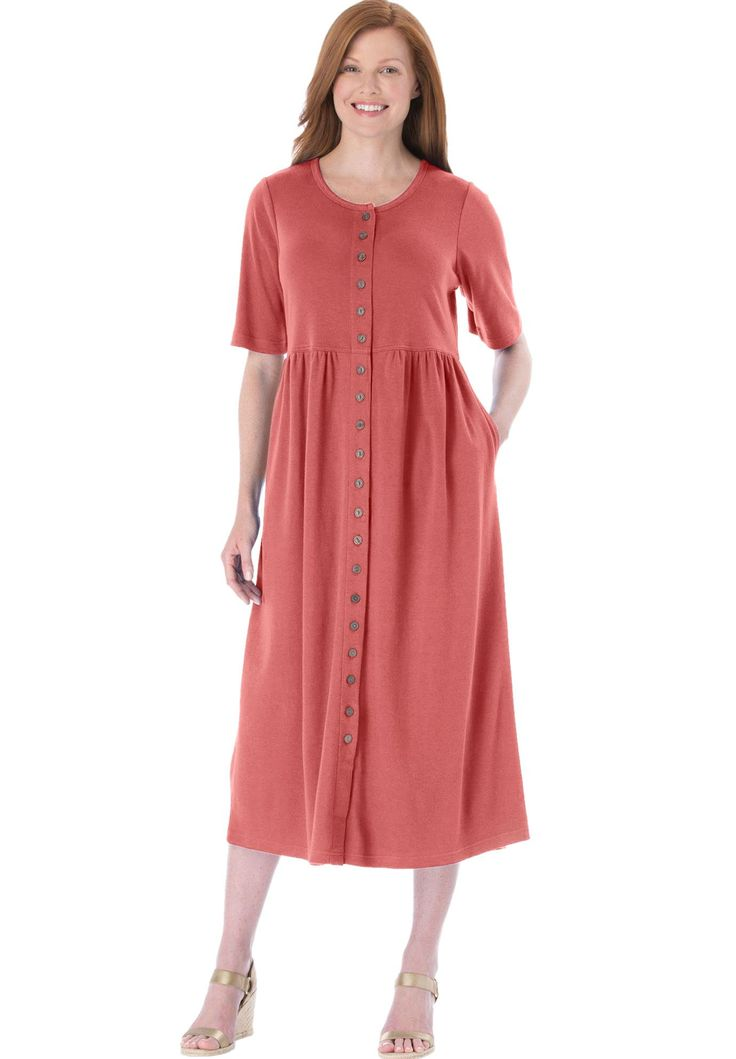 Petite dress with button front, empire waist by Only Necessities - Women's Plus Size Clothing