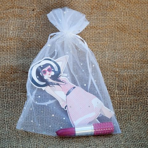 Women's Day gifts - organza bag with lipstick pen and funky notepad