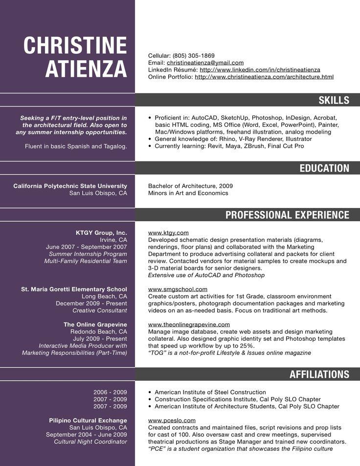 Http Www Christineatienza Com Uploads 2 8 8 4 2884224 Catienza Resume Jpg Architect Resume Sample Architect Resume Architecture Resume