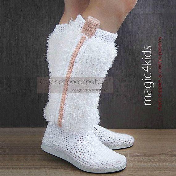 Crochet boots pattern women fuzzy boots crochet por magic4kids