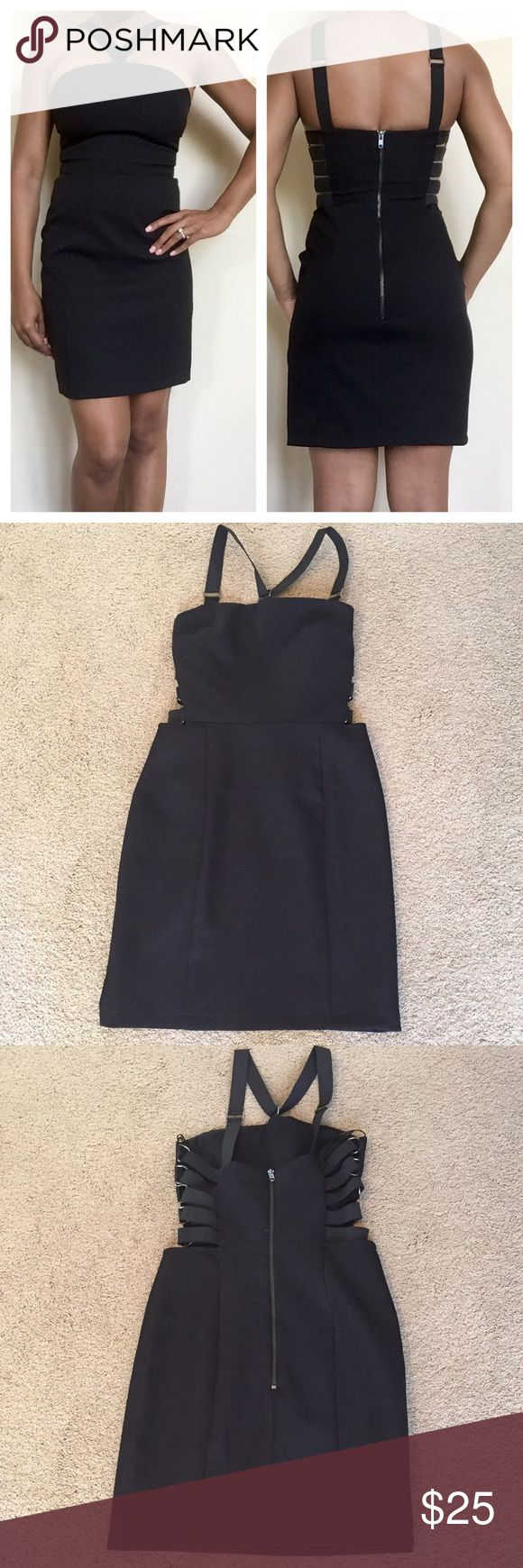 Topshop Black Bandage Dress Elastic on sides and halter top. Best for smaller bust (A or B) or ribcage. Perfect condition Topshop Dresses