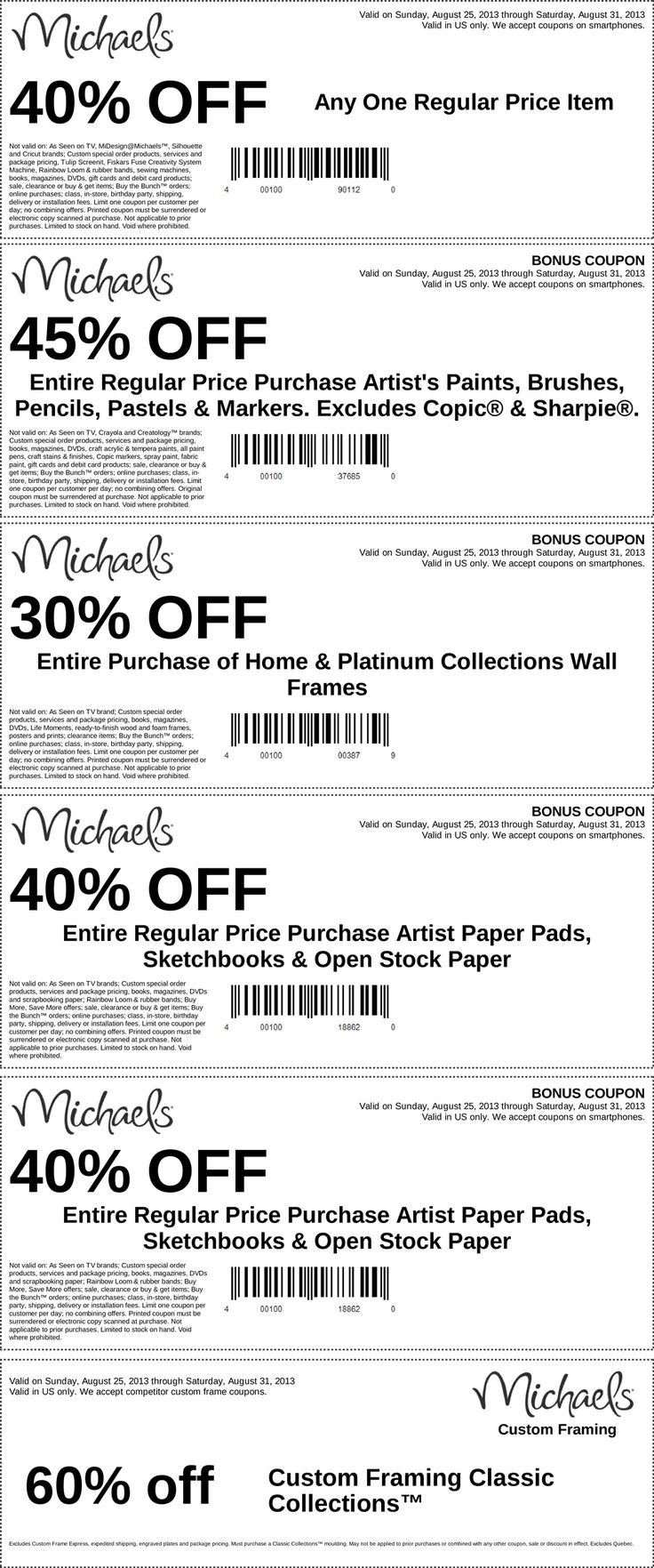 Pinned August 25th: 40% off a single item and more at Michaels #coupon via The Coupons App