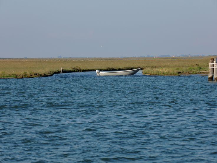 quintessential lagoon: water, mudbanks and boats