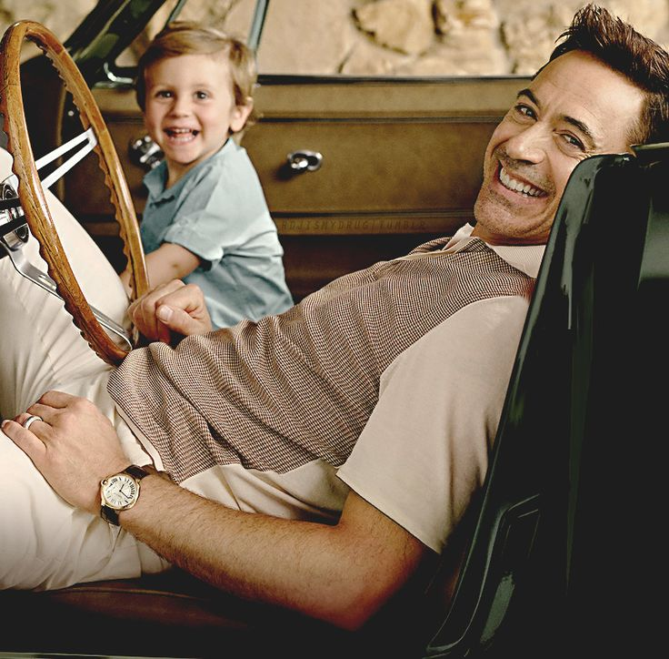 Those are the cutest smiles ever!  Robert Downey Jr. and his son Exton, for Vanity Fair, October 2014.  Photo by Sam Jones.