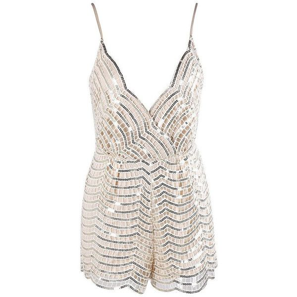 Evelyn Belluci Beige Sequin Jumpsuit ($65) ❤ liked on Polyvore featuring jumpsuits, white sequin romper, party jumpsuits, white plunge jumpsuit, white party jumpsuits and sleeveless romper