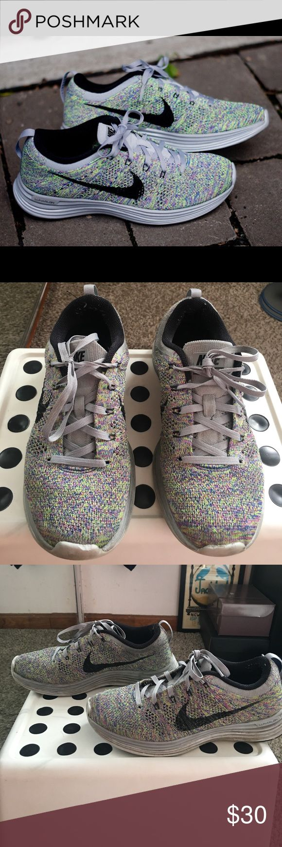 Nike Air Flyknit Lunar+1  Sneakers Multi Wmns 6.5 Multicolor Flyknit sneakers perfect for running/atheleisure/gym. Worn 10x and majority of those times were for running. Signs of wear on toe, outersole and sole. Still tons of wear left. Nike Shoes Sneakers