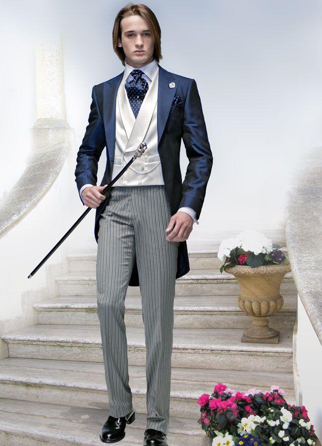 Custom made morning suit navy blue best man notch lapel for Morning wedding dress code