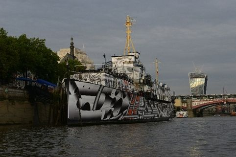 HMS President (1918) featuring Dazzle Ship London design by Tobias Rehberger