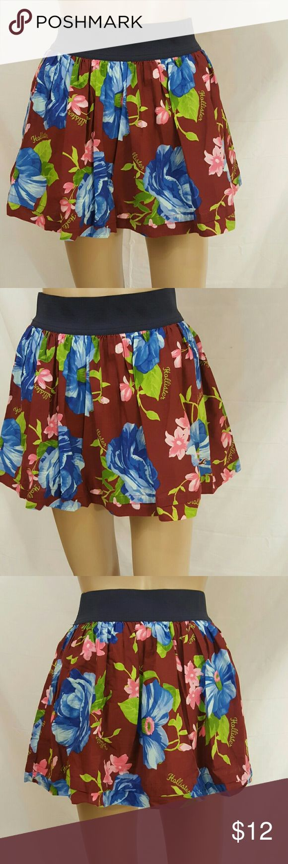 Hollister Skirt Maroon background Blue Flowers Hollister Skirts Mini