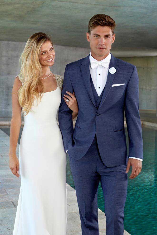Ike Behar Mid Blue Wedding Tuxedo Blue Tuxedo Wedding Blue Suit Wedding Groom Wedding Attire