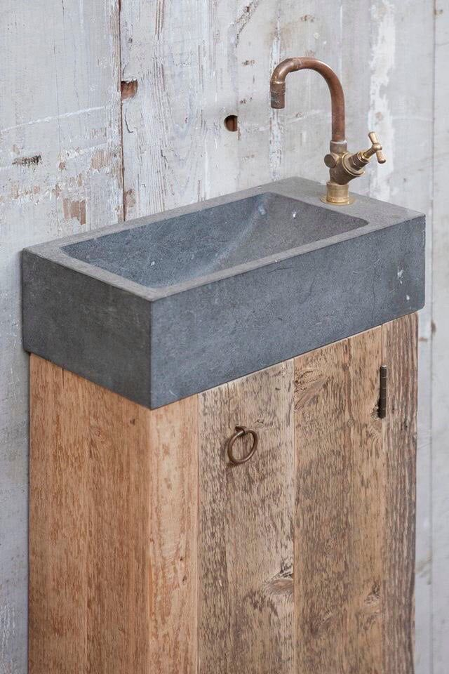Concrete and wood sink