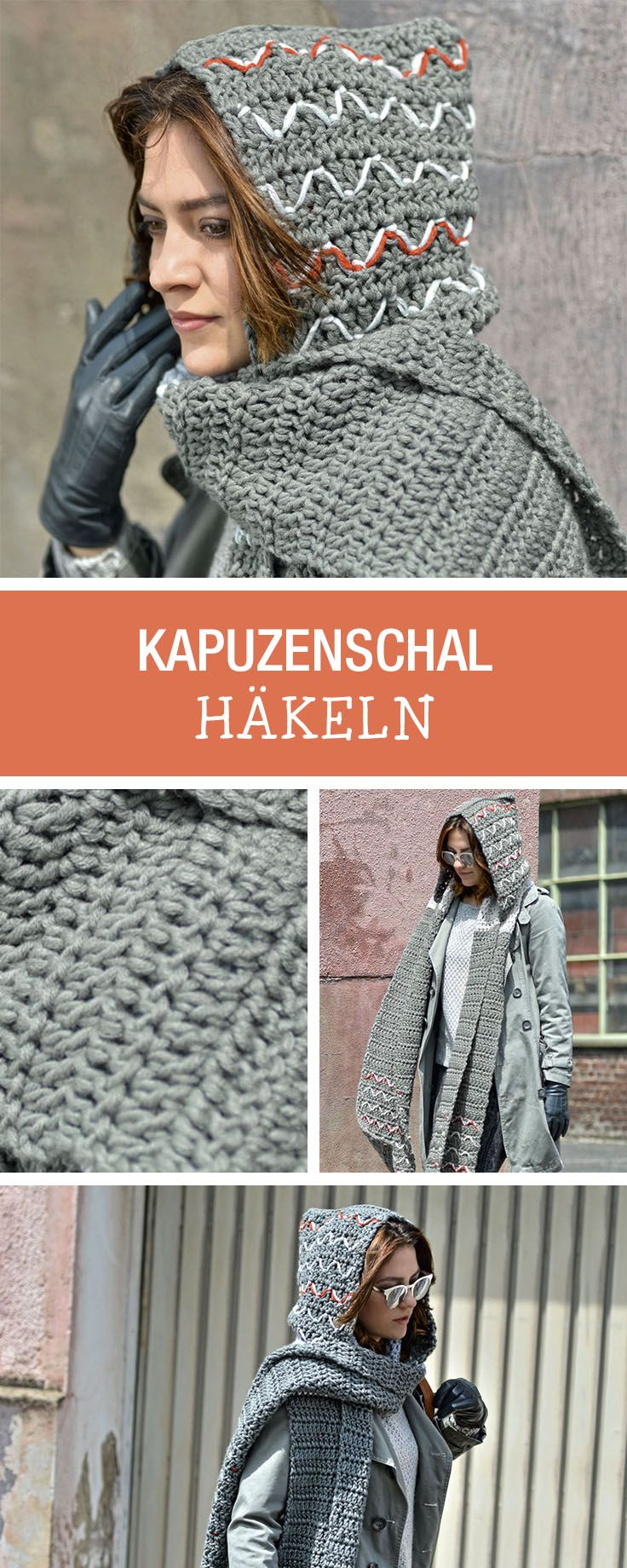DIY-Anleitung: Modetrend für Herbstsaison, Kapuzenschal selbst häkeln / DIY tutorial: fashion trend for fall season, crocheting hooded scarf via DaWanda.com