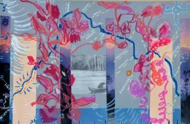 "Saatchi Art Artist mara montanari; Collage, ""Serpente de Oro Map and Indios Tribe"" #art"