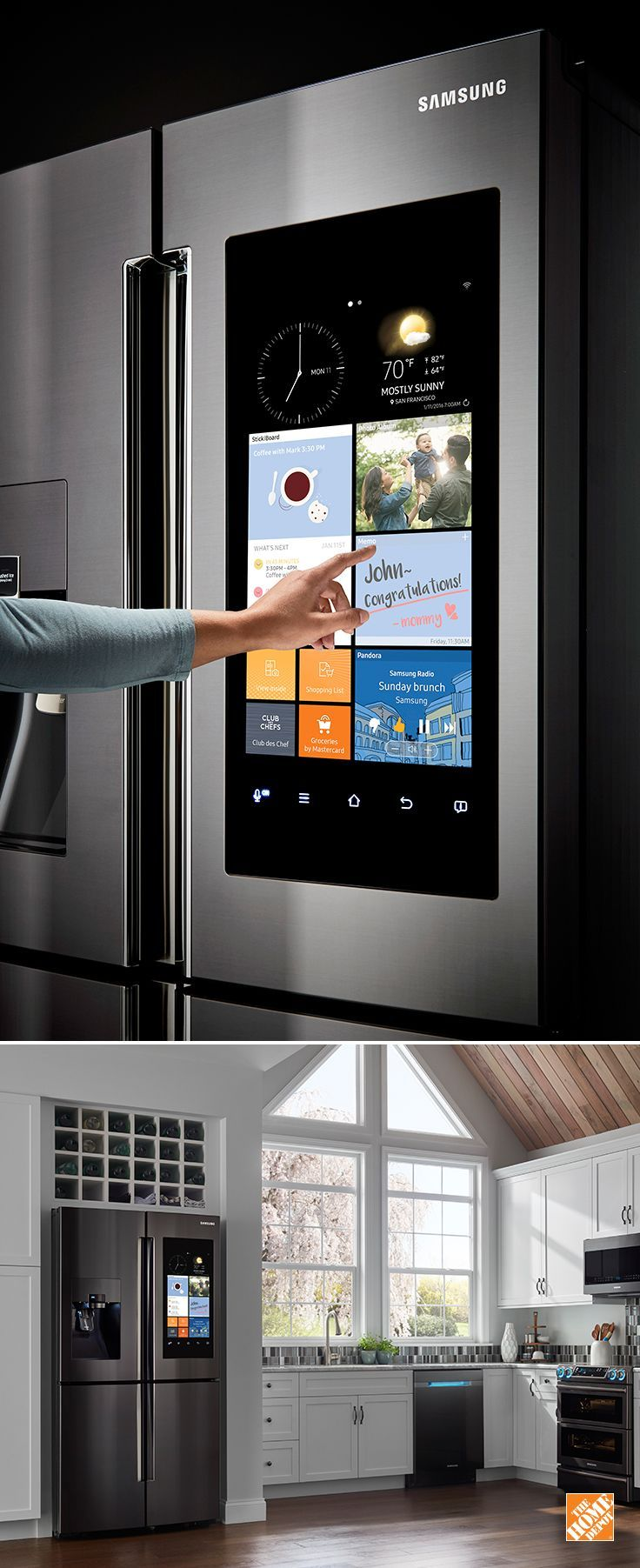 """Make the kitchen the center of your home. Samsung's Family Hub™ Refrigerator helps you manage your home and your life, with 3 Built-in cameras for food management, plus direct grocery ordering, share multiple calendars, photos and notes and Stream music, videos, mirror your TV – all controlled from a 21.5"""" Wi-Fi enabled touchscreen on a beautiful 4-door refrigerator."""