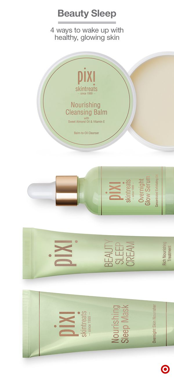 Give your skin a boost with these natural Pixi faves that work hard while you sleep. Start with Nourishing Cleansing Balm, which melts away makeup and nourishes with almond oil & vitamin E. Overnight Glow Serum is a concentrated exfoliating gel with 10% glycolic acid & cucumber for smooth texture. Beauty Sleep Cream boasts botanical oils and extracts that help repair elasticity and radiance. Finish with the Nourishing Sleep Mask to seal in the benefits of your nighttime routine.