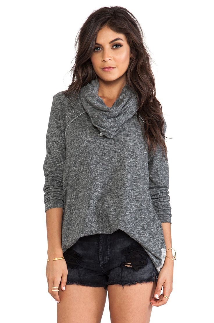 Free People Beach Cocoon Cowl Pullover in Charcoal | REVOLVE