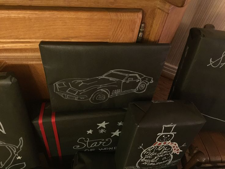 Pinit Projects - Me, Myself, and I. Christmas Wrapping 2016.   My husband wanted a 1971 Corvette on his package. Inspiration from Paper and Cake websitehttp://www.paperandcake.com/2013/12/19/diy-chalkboard-gift-wrap/