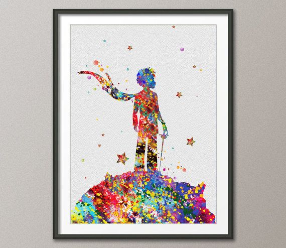 The Little Prince Le Petit Prince inspiration Watercolor illustrations Art Print Giclee Wall Decor Art Home Decor Wall Hanging[NO 162]