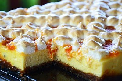 Hungarian Ricotta Cake with Peach Preserve. A nice twist on cheesecake.