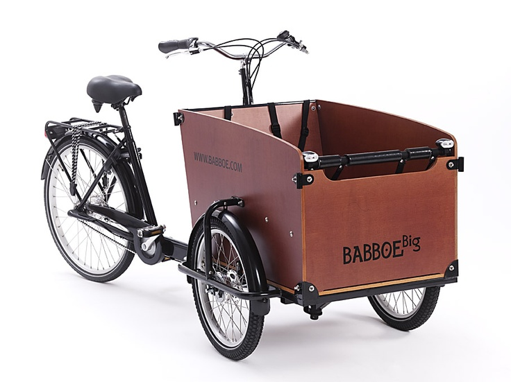 Babboe Big cargo bike  This trusted 3-wheel cargo bike is stable and sturdy and can easily transport four children. The Babboe Big is fitted as standard with many extras such as conveniences and safety components.      Why a 3-wheel cargo bike?    - Children seated safely in the container, secured in safety belts  -Very stable; easy to mount and dismount  - Remain seated at traffic lights; squeezing your brake is sufficient  - Children sit opposite one another making a ride in the carrier…