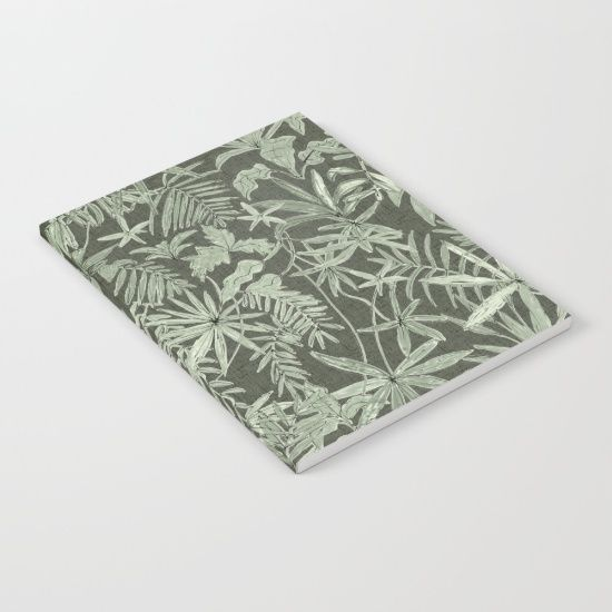 Jungle Leaves in khaki Notebook by Mister Moon. #society6 #notebook