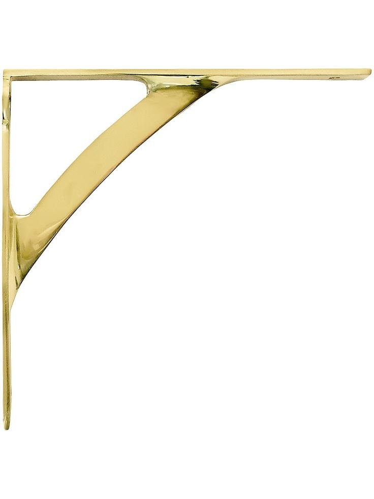 """Decorative Shelf Brackets. 5"""" x 5 1/4"""" Polished Brass Shelf Bracket"""
