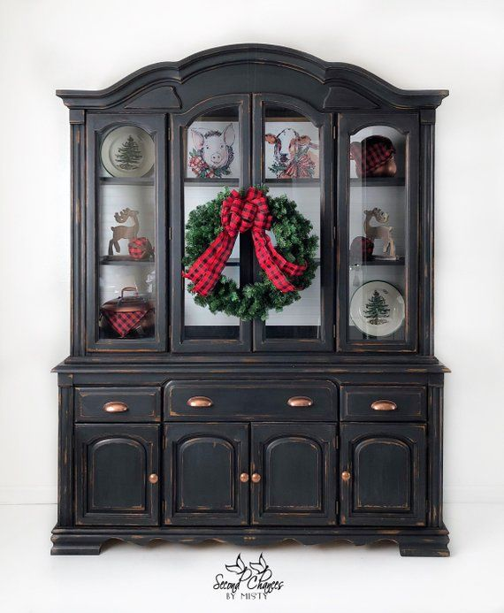 This China Cabinet Has Been Hand Painted Black And Distressed For A Lovely Farmhouse Style Black China Cabinet Painted China Cabinets China Cabinet