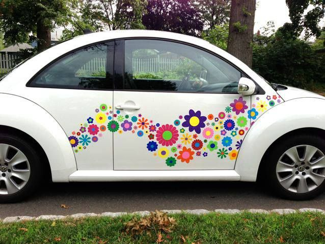 Vw beetle funky hippie flower decals stickers http www hippymotors co
